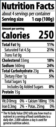 Grilled Chicken & Mozzarella Ravioli Nutrition Facts