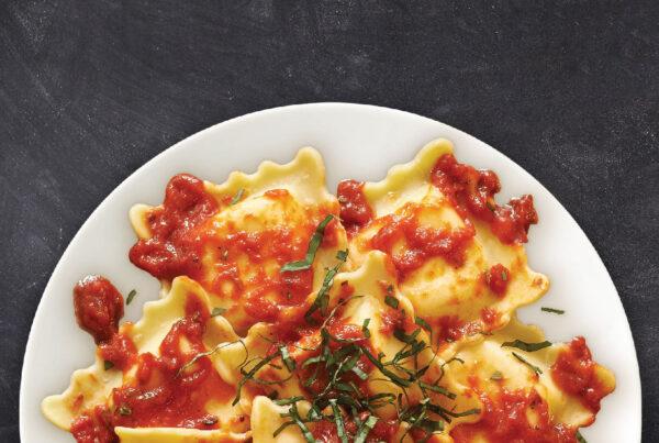 Five Cheese Ravioli with Tomato and Basil