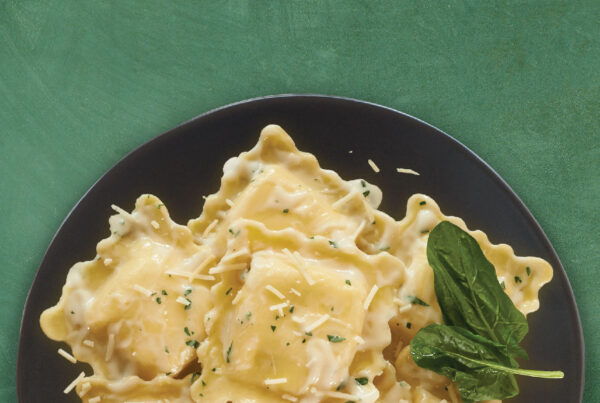 Gluten Free Five Cheese Ravioli with Lemon Herb Alfredo Sauce