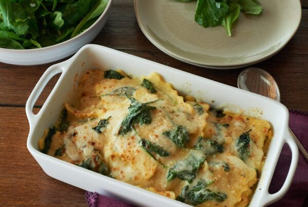 Organic Butternut Squash Ravioli Lasagna with Spinach Bake