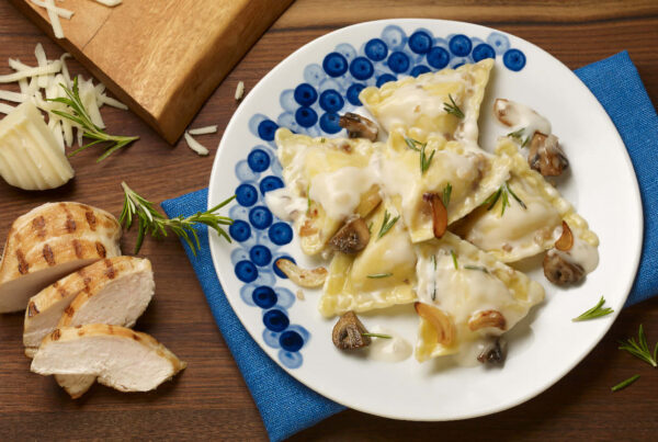 Grilled Chicken & Mozzarella Ravioli with Mushrooms and Parmesan Cream